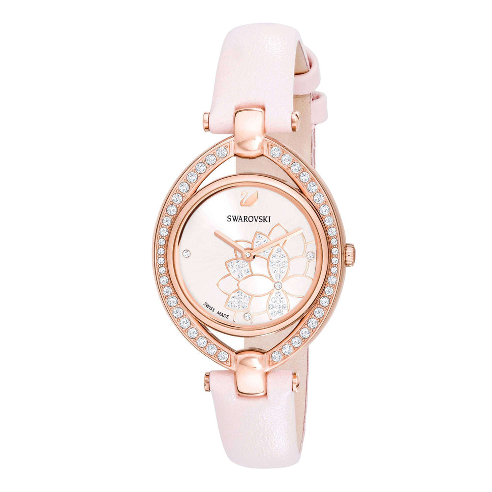 Stella Watch, Leather Strap, Pink, Rose gold tone