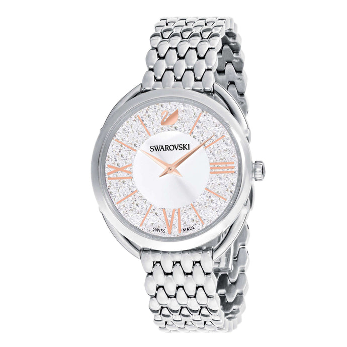 Crystalline Glam Watch, Metal Bracelet, White, Silver tone