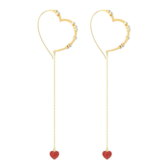 Swarovski OXO Pierced Earrings Chain, Red, Gold plating