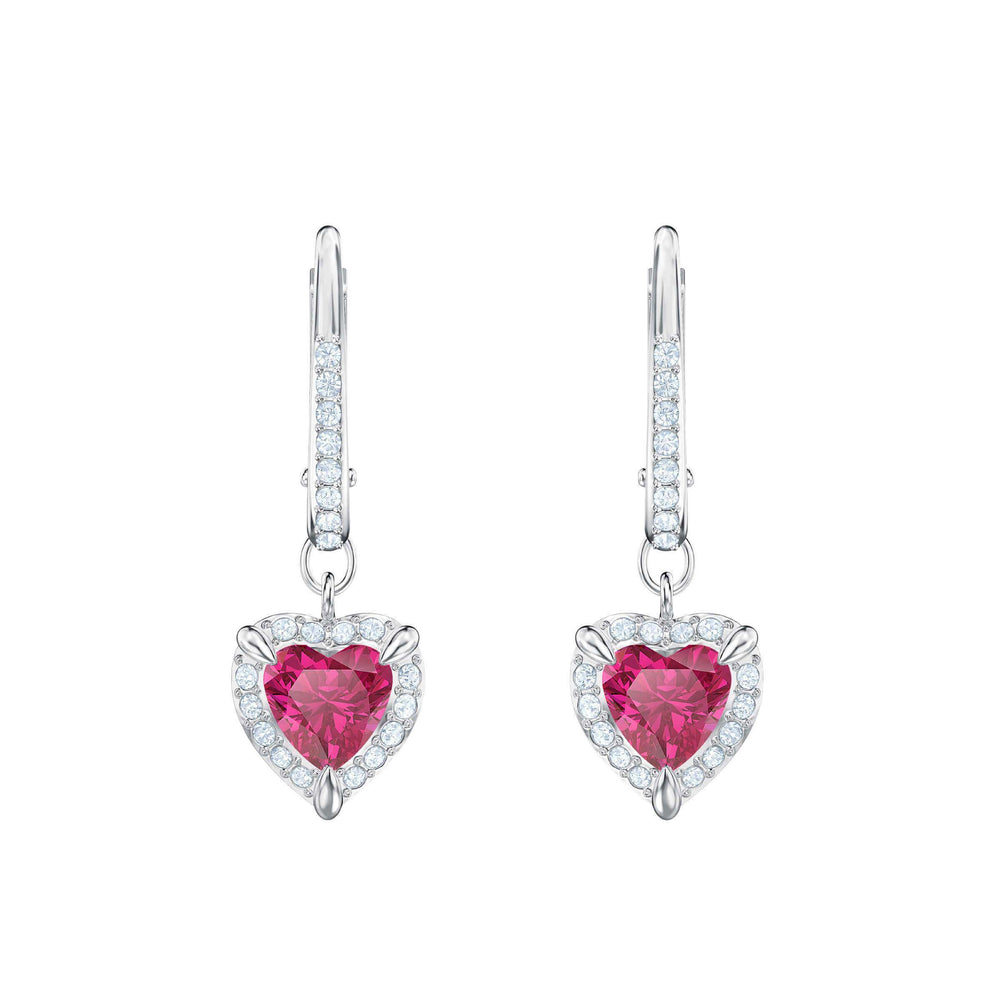 Swarovski One Pierced Earrings, Red, Rhodium plating