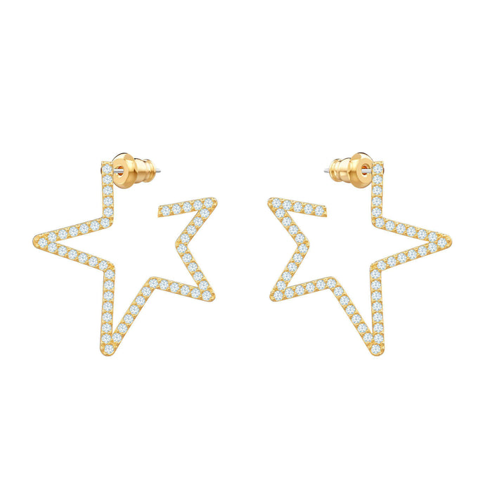 Swarovski Only Pierced Earrings, White, Gold plating