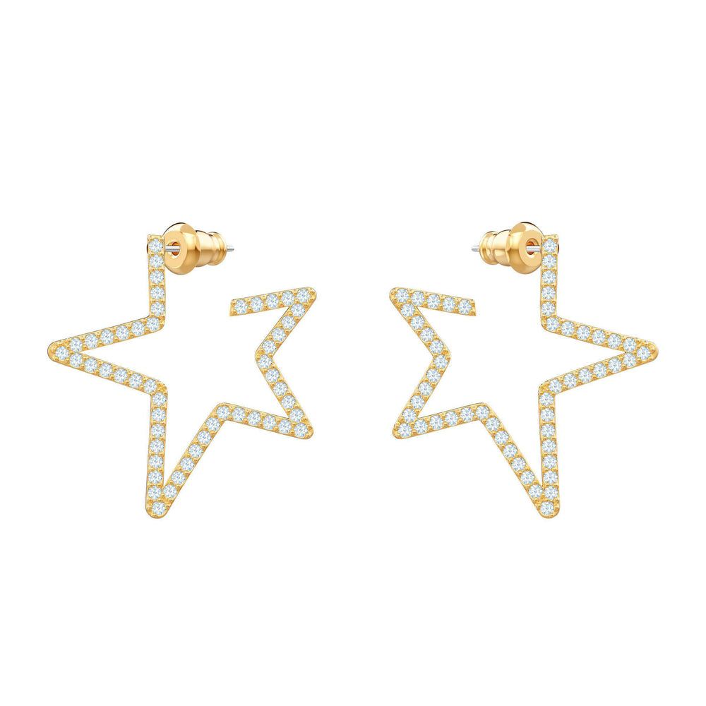 Only Pierced Earrings, White, Gold plating