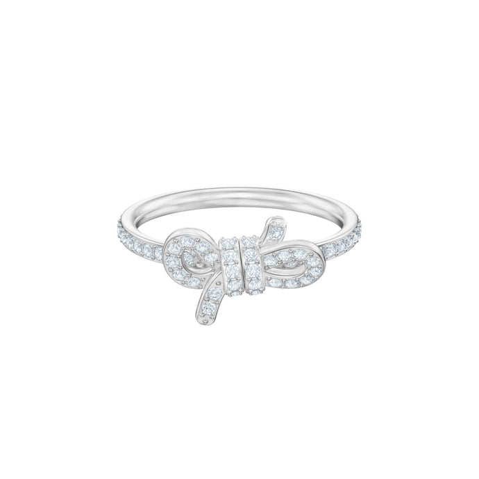 Swarovski Lifelong Small Bow Ring, White, Rhodium plating