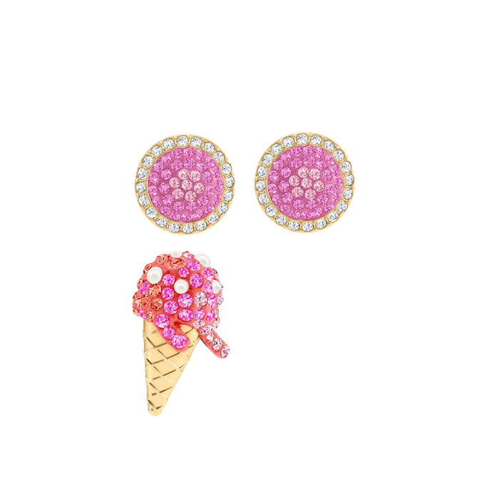Swarovski No Regrets Ice Cream Pierced Earrings, Multi-colored, Gold plating