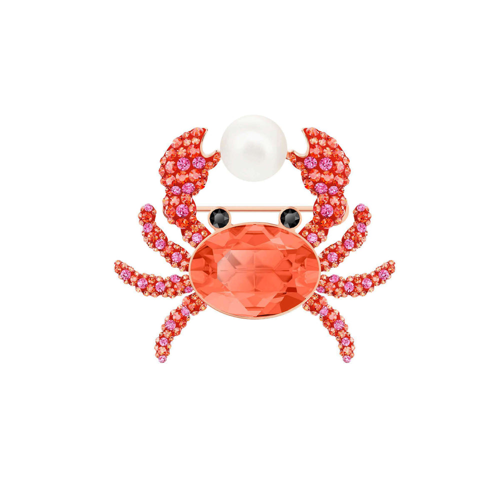 Swarovski Ocean Crab Brooch, Multi-colored, Rose gold plating