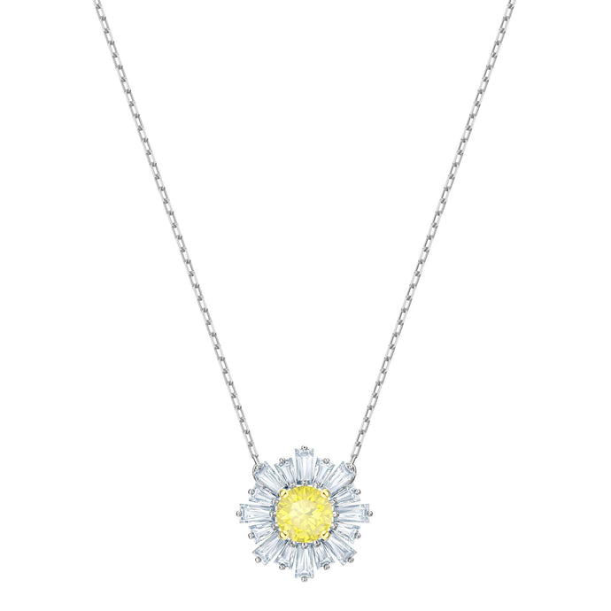 Sunshine Pendant, Yellow, Rhodium plating
