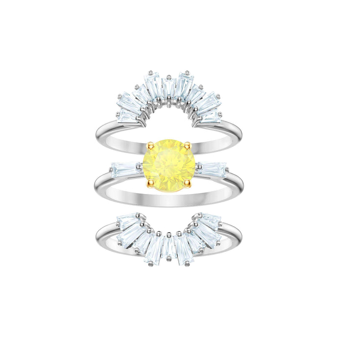 Swarovski Sunshine Ring Set, White, Rhodium plating