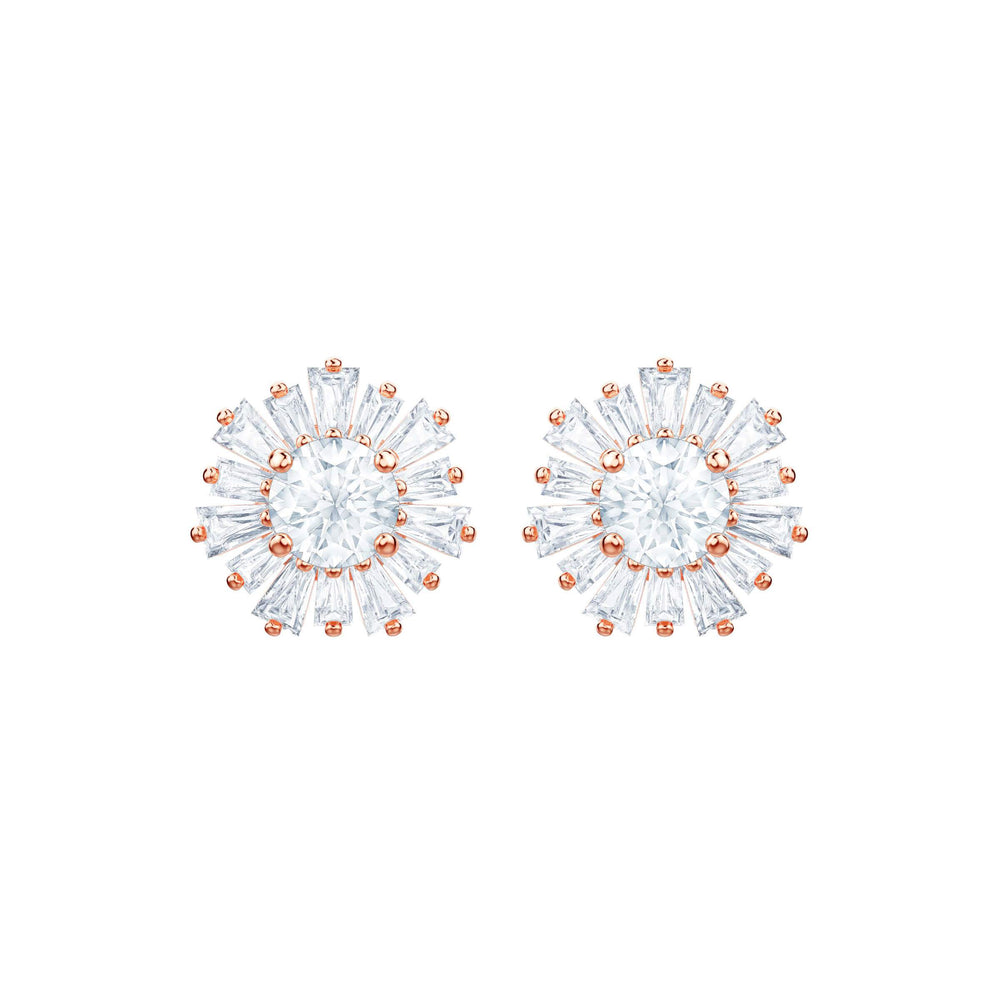 Sunshine Pierced Earrings, White, Rose gold plating