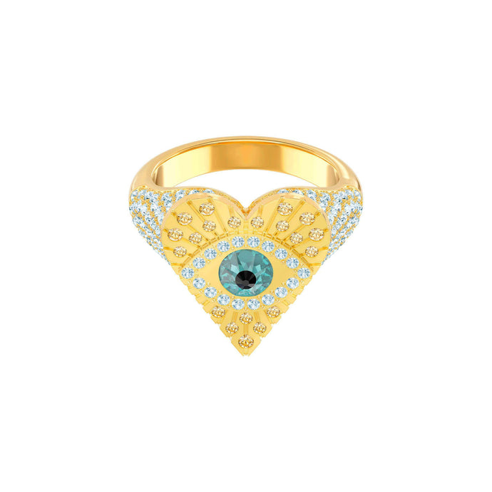 Swarovski Lucky Goddess Heart Motif Ring, Multi-colored, Gold plating