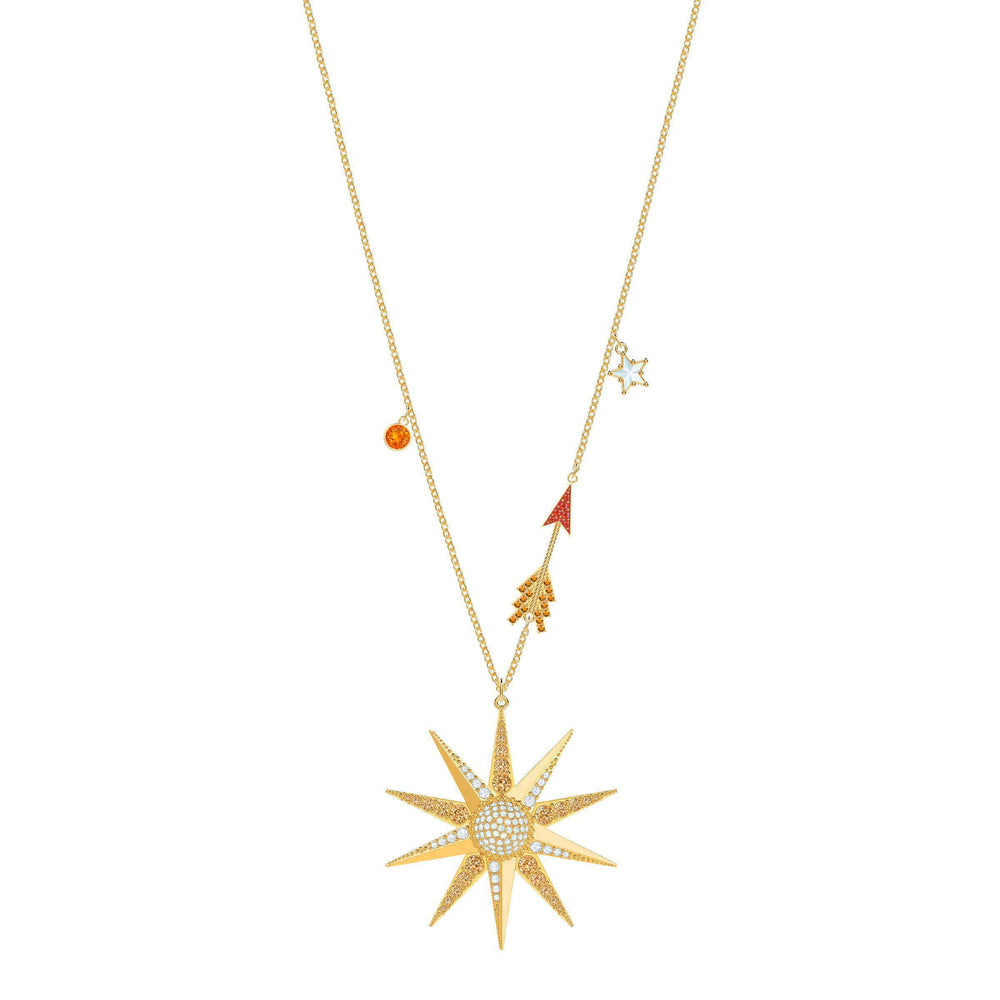 Lucky Goddess Star Necklace, Multi-colored, Gold plating