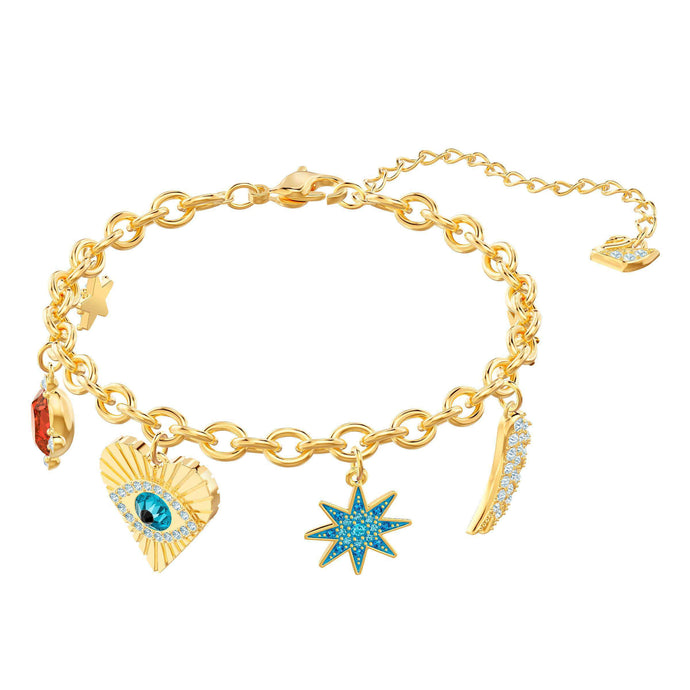 Swarovski Lucky Goddess Charms Bracelet, Multi-colored, Gold plating
