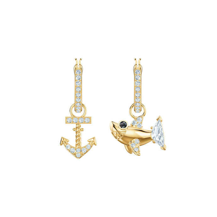 Swarovski Ocean Shark Pierced Earrings, White, Gold plating