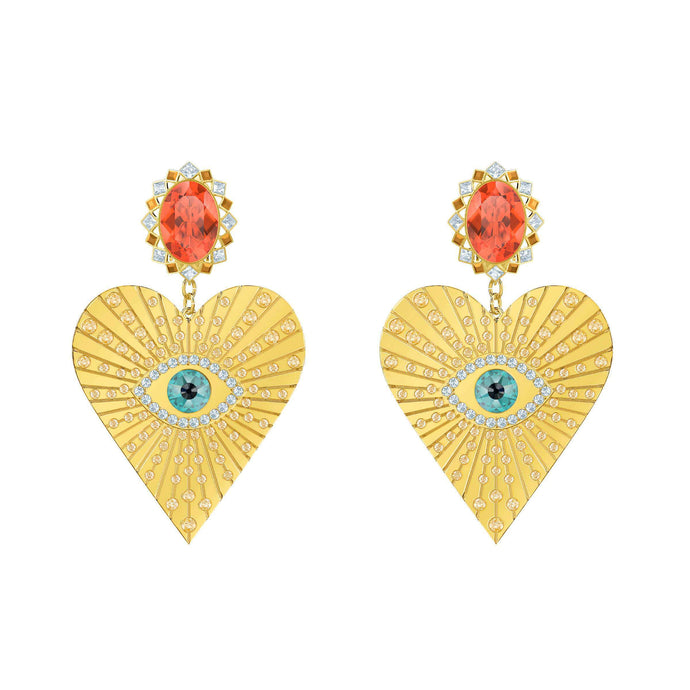 Lucky Goddess Heart Clip Earrings, Multi-colored, Gold plating