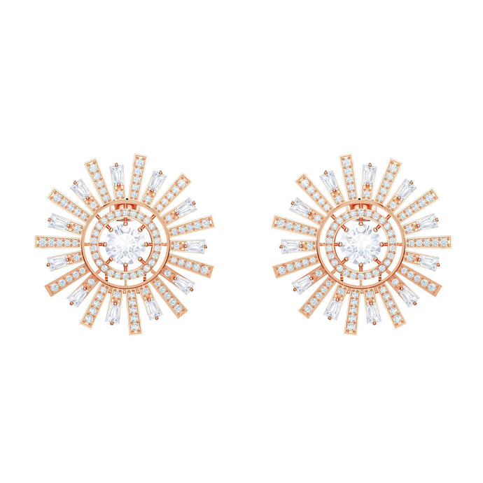 Sunshine Clip Earrings, White, Rose gold plating