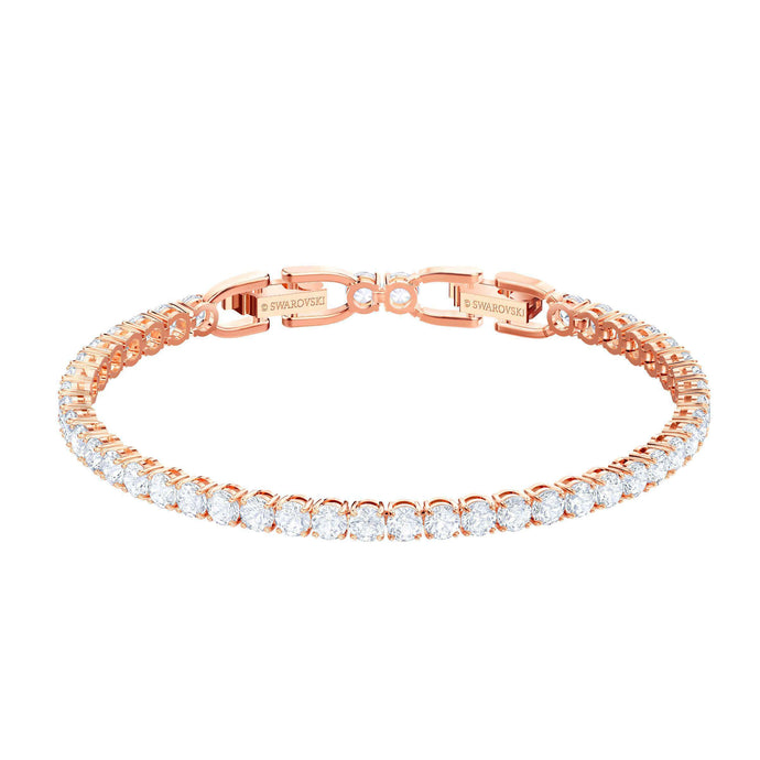 Swarovski Tennis Bracelet, White, Rose gold plating