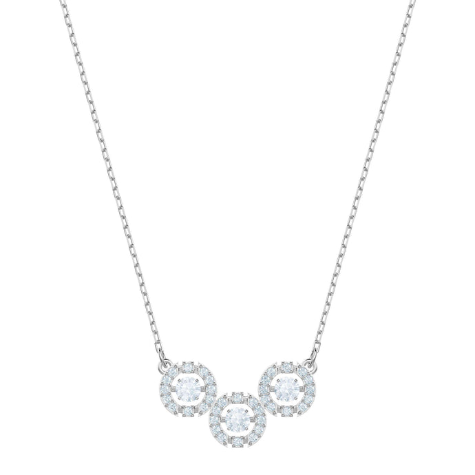 Swarovski Sparkling Dance Trilogy Necklace, White, Rhodium plating
