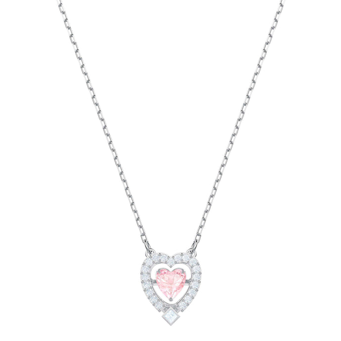 Swarovski Sparkling Dance Heart Necklace, Pink, Rhodium plating
