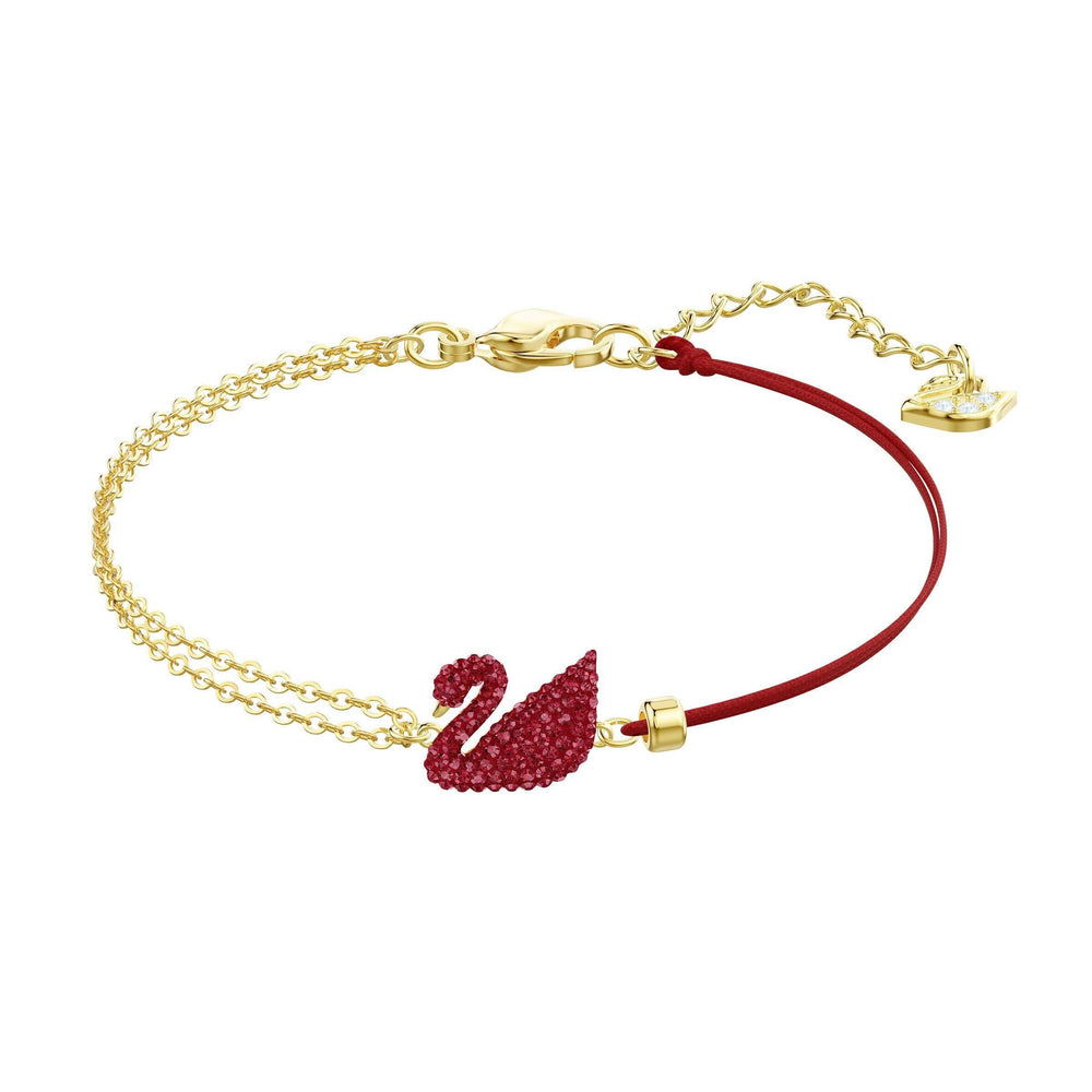 Swarovski Iconic Swan Bracelet, Red, Gold plating