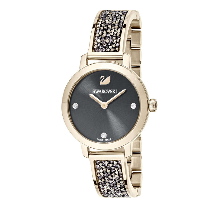 Swarovski Cosmic Rock Watch, Metal bracelet, Gray, Champagne gold tone