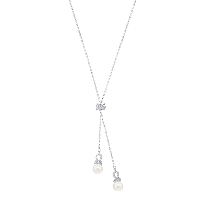 Swarovski Originally Y Necklace, White, Rhodium plating