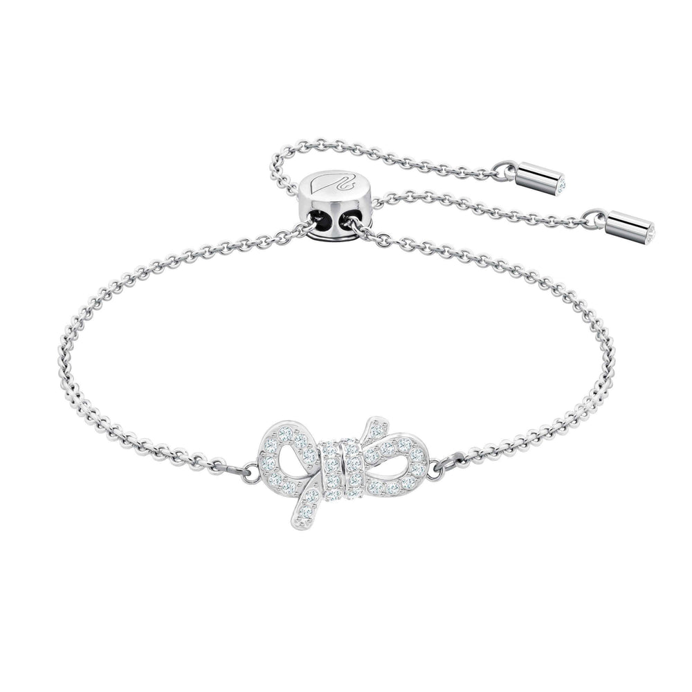 Lifelong Bow Bracelet, White, Rhodium plating