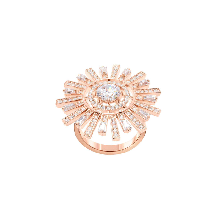 Sunshine Cocktail Ring, White, Rose gold plating
