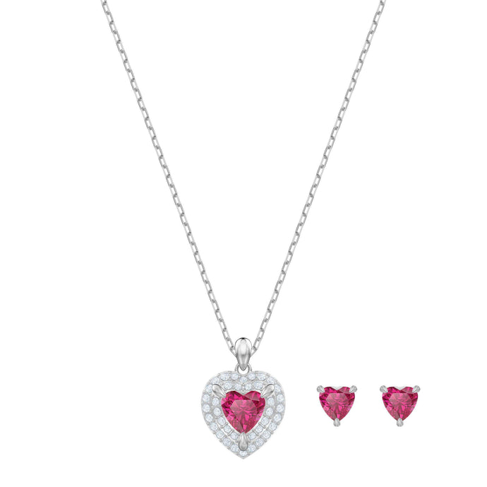 Swarovski One Set, Red, Rhodium plating