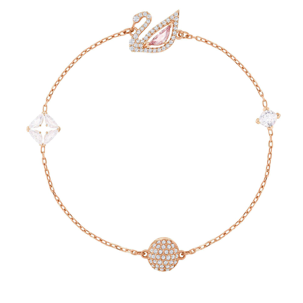 Swarovski Dazzling Swan Bracelet, Multi-colored, Rose gold plating