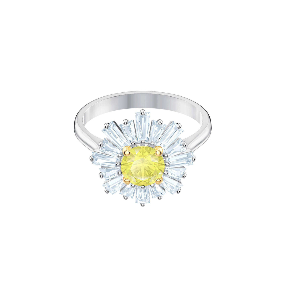Swarovski Sunshine Ring, Yellow, Rhodium plating