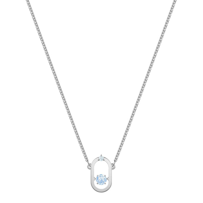 Swarovski North Necklace, Blue, Rhodium plating