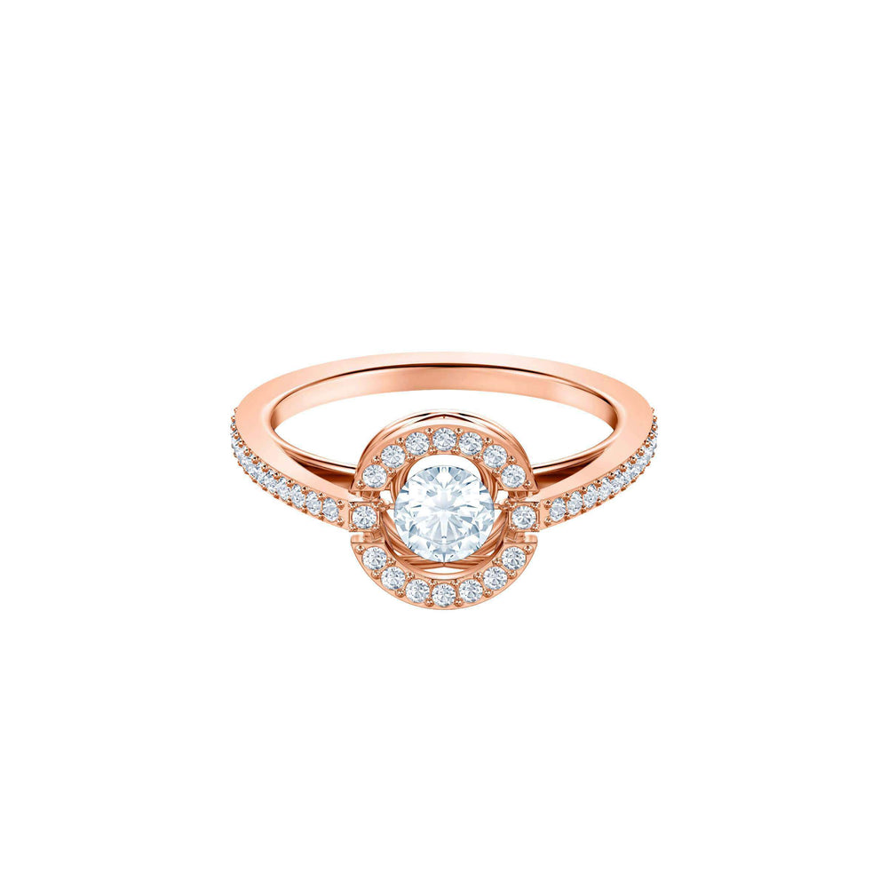 Sparkling Dance Round Ring, White, Rose gold plating