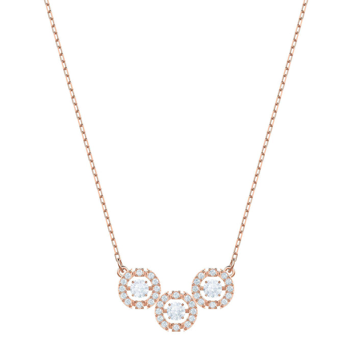 Swarovski Sparkling Dance Trilogy Necklace, White, Rose gold plating