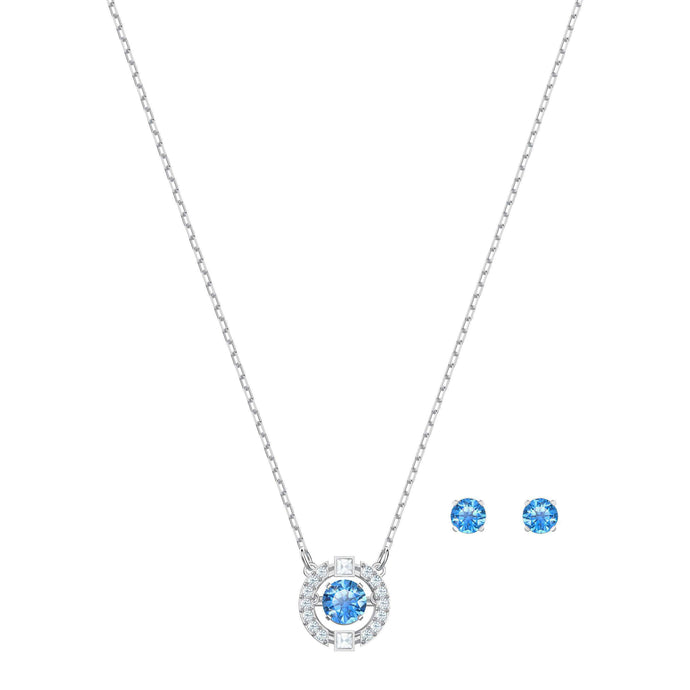 Swarovski Sparkling Dance Round Set, Blue, Rhodium plating