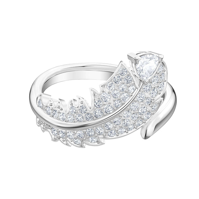 Swarovski Nice Motif Ring, White, Rhodium plated