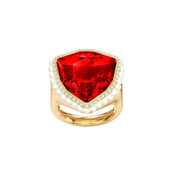 Swarovski Lucky Goddess Cocktail Ring, Red, Gold plating