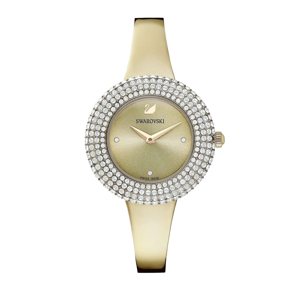 Swarovski Crystal Rose Watch, Metal Bracelet, Gray, Champagne-gold tone PVD