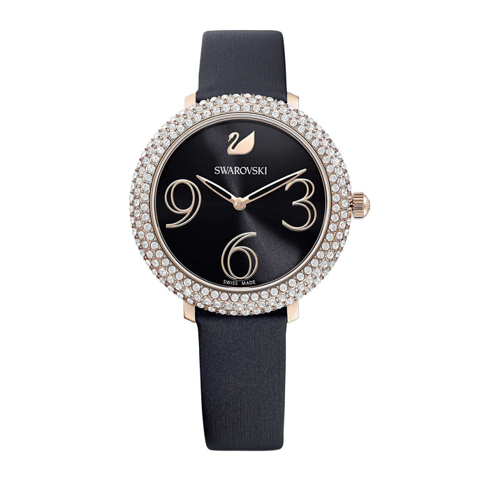 Swarovski Crystal Frost Watch, Leather Strap, Black, Rose-gold tone PVD