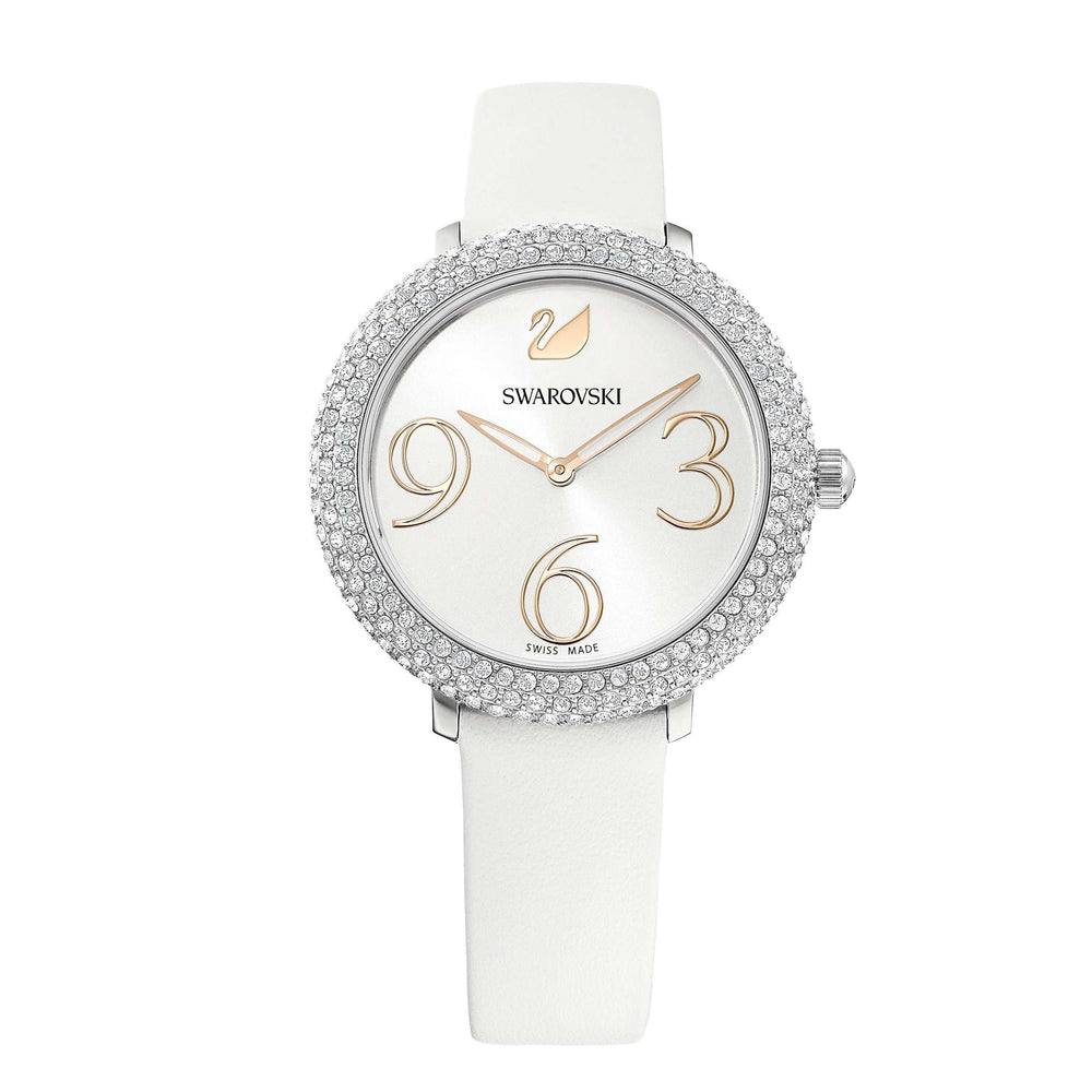 Swarovski Crystal Frost Watch, Leather Strap, White, Stainless Steel