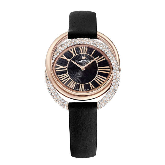Swarovski Duo Watch, Leather Strap, Black, Rose-gold tone PVD