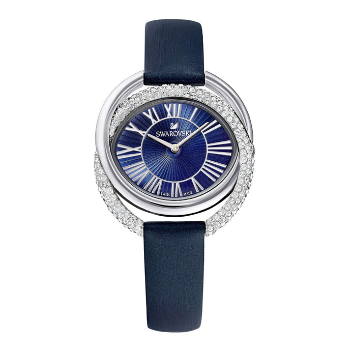 Swarovski Duo Watch, Leather Strap, Blue, Stainless Steel