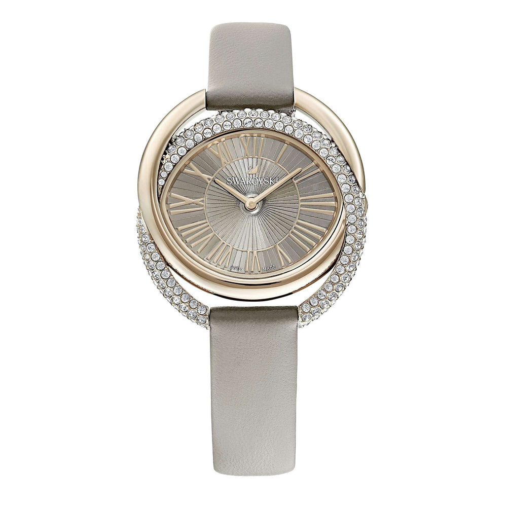 Swarovski Duo Watch, Leather Strap, Gray, Champagne-gold tone PVD