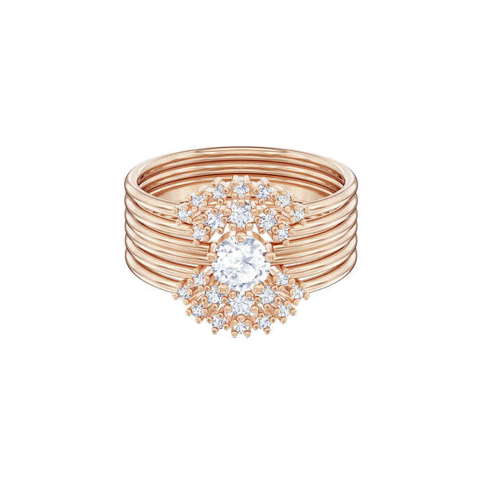 Swarovski Penélope Cruz Moonsun Stacking Ring, White, Rose gold plating