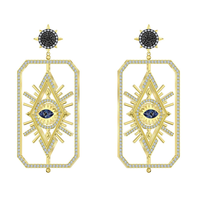 Swarovski Tarot Magic Pierced Earrings, Multi-colored, Gold-tone plated