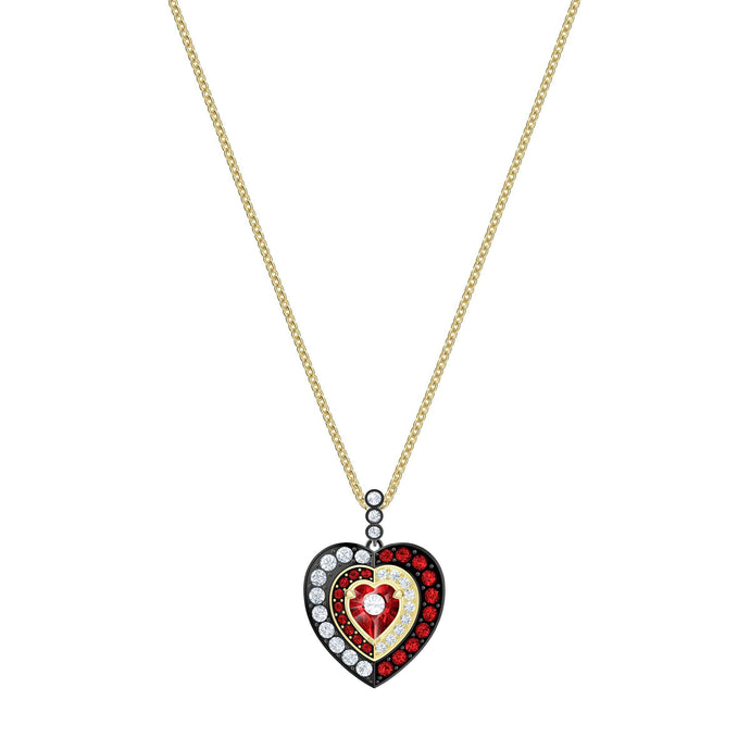 Swarovski Black Baroque Pendant, Red, Gold-tone plated