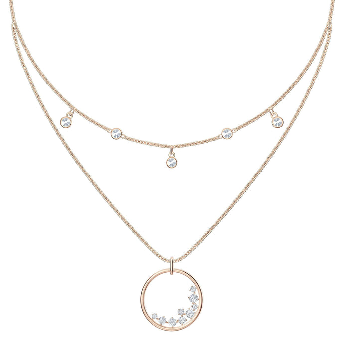 Swarovski North Necklace, White, Rose-gold tone plated