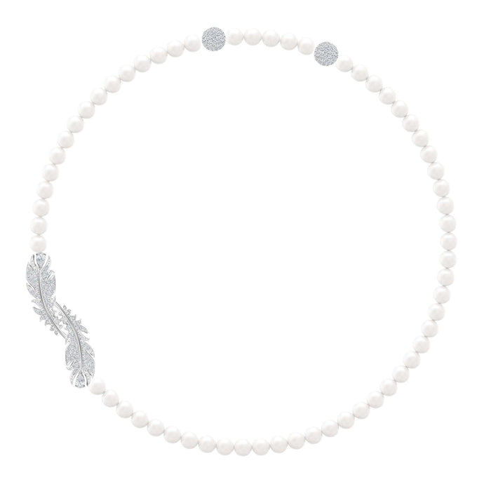 Swarovski Nice Necklace, White, Rhodium plated