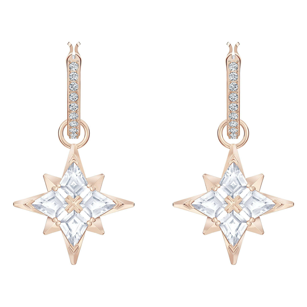 Swarovski Swarovski Symbolic Star Hoop Pierced Earrings, White, Rose-gold tone plated