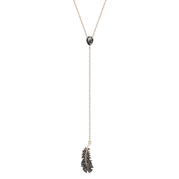 Swarovski Naughty Y Necklace, Black, Rose-gold tone plated