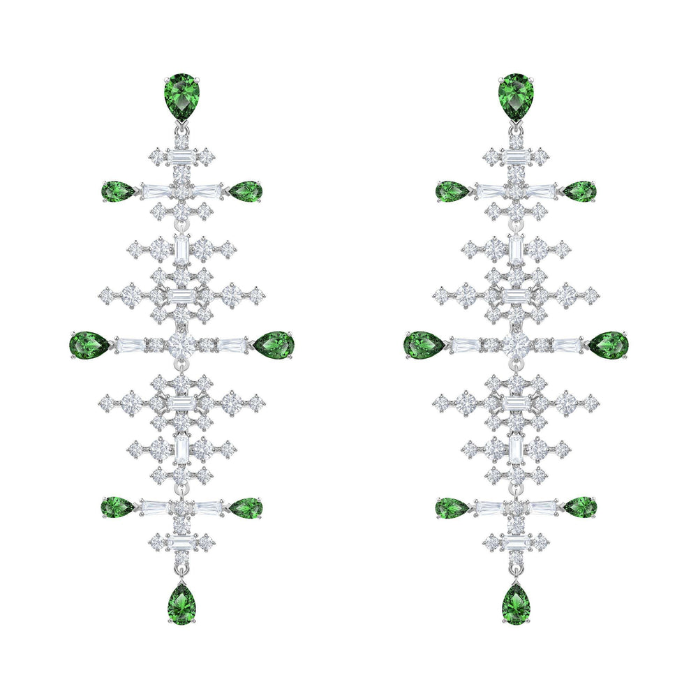 Swarovski Perfection Chandelier Pierced Earrings, Green, Rhodium plated