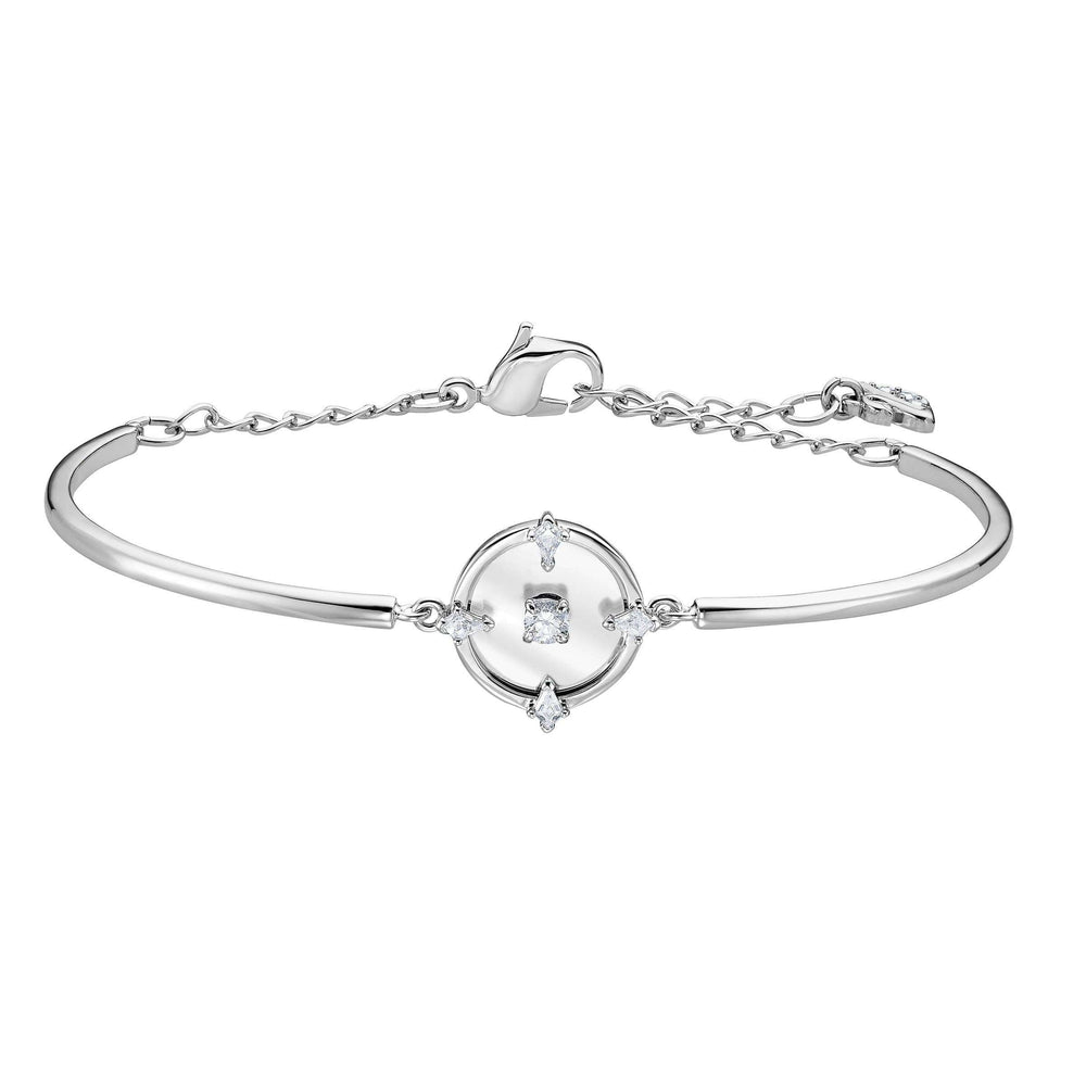Swarovski North Bangle, White, Rhodium plated